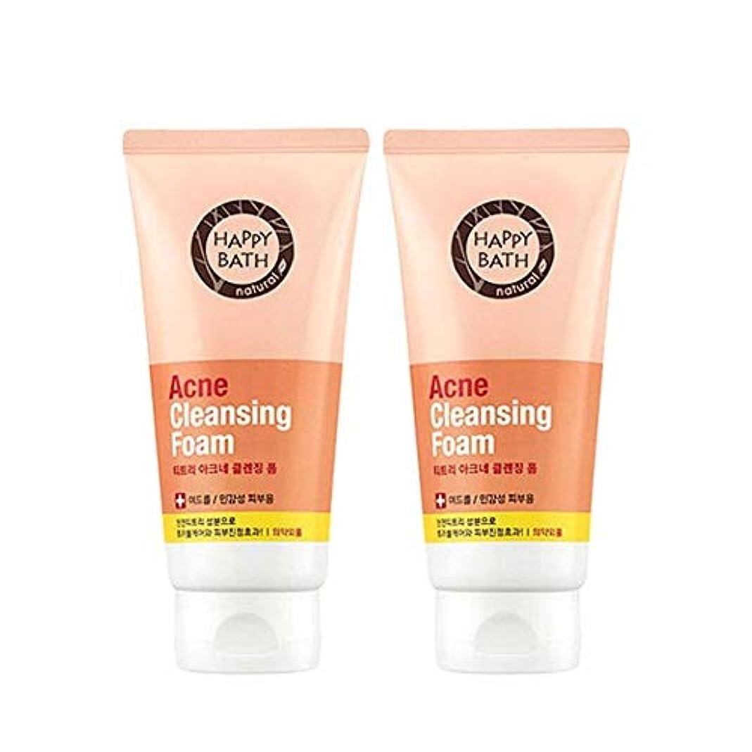 戸棚トランスペアレント早くハッピーバスティーツリーアクネクレンジングフォーム175gx2本セット韓国コスメ、Happy Bath Acne Cleansing Foam 175g x 2ea Set Korean Cosmetics [並行輸入品]