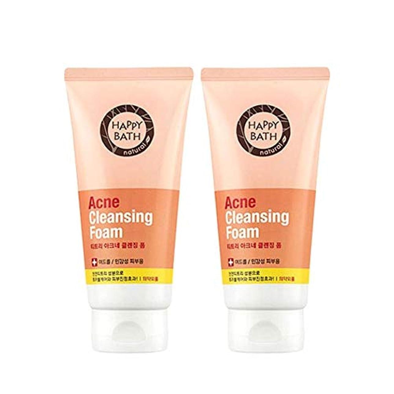 お酢潮機関車ハッピーバスティーツリーアクネクレンジングフォーム175gx2本セット韓国コスメ、Happy Bath Acne Cleansing Foam 175g x 2ea Set Korean Cosmetics [並行輸入品]
