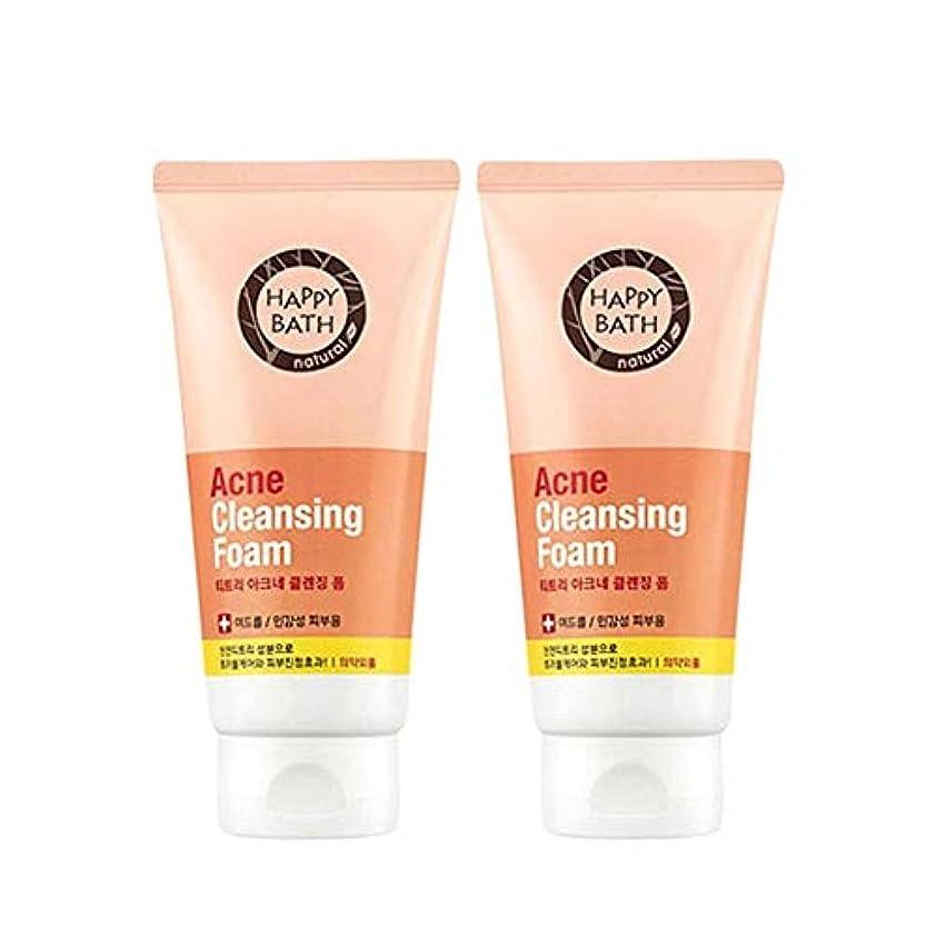 巨大なビュッフェ表示ハッピーバスティーツリーアクネクレンジングフォーム175gx2本セット韓国コスメ、Happy Bath Acne Cleansing Foam 175g x 2ea Set Korean Cosmetics [並行輸入品]