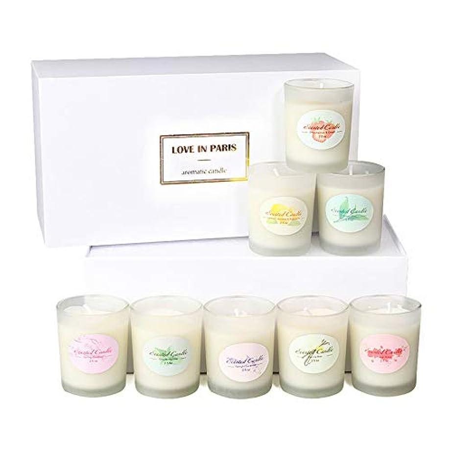 香り付きキャンドルソイワックス、ストレス解消とアロマセラピー用の強力な香りのエッセンシャルオイルを備えた8 x 2.5オンスポータブルガラスキャンドル
