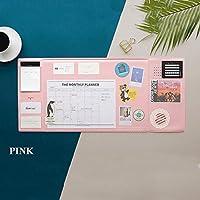 マウスパッド多機能クリエイティブコンピュータービジネスデスクマット防水オーガナイザー電話カード文房具用ホームカレンダー電話ホルダーポケット27.8X12.6in,ピンク