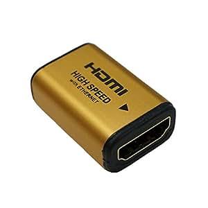 HORIC HDMI 中継アダプタ ゴールド HDMIタイプAメス-HDMIタイプAメス HDMIF-027GD