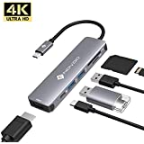 USB Type C Hub NOVOO 6 in 1 USB C Hub USB C Adapter Thunderbolt 3 Adapter Dock with 4K HDMI,100W USB C PD Charging Port, 2 USB 3.0 Ports, SD/TF Card Reader for MacBook Pro 2017/2016/2020, MacBook Air iPad Pro and More Type C Devices