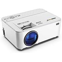 Mofek プロジェクター 小型 1800ルーメン 1080PフルHD対応 800*480解像度 台形補正 HDMIケーブル付属 パソコン/スマホ/タブレット/ゲーム機など接続可能 ホームプロジェクター プレゼント用 3年保証