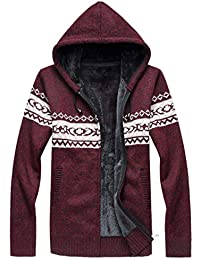 Aiweijia 男性 コート ルーズ 厚い セーター 印刷 フード付き セーター コート
