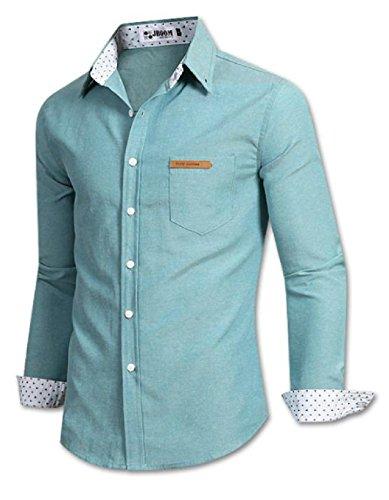 (UN ANANAS) カジュアル ドット ワイ シャツ メンズ ポケット トップス サイズ M L XL 大きい サイズ (M ミント)