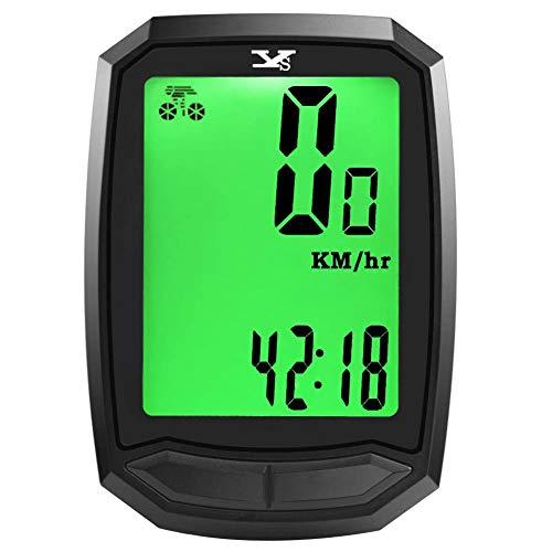 サイクルコンピューター スピードメーター 自転車コンピューター サイクルメーター ワイヤレス 大画面表示 バックライト付き 自動電源ON/OFF スピード 走行距離計 走行時間計