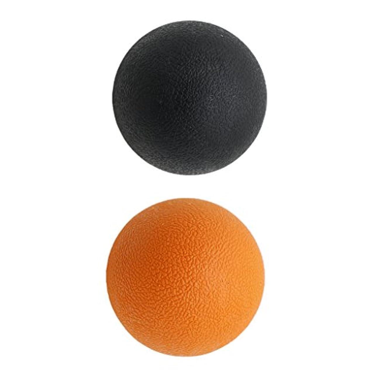 試してみる人事バスケットボールKesoto 2個 マッサージボール ラクロスボール 背部 トリガ ポイント マッサージ 多色選べる - オレンジブラック