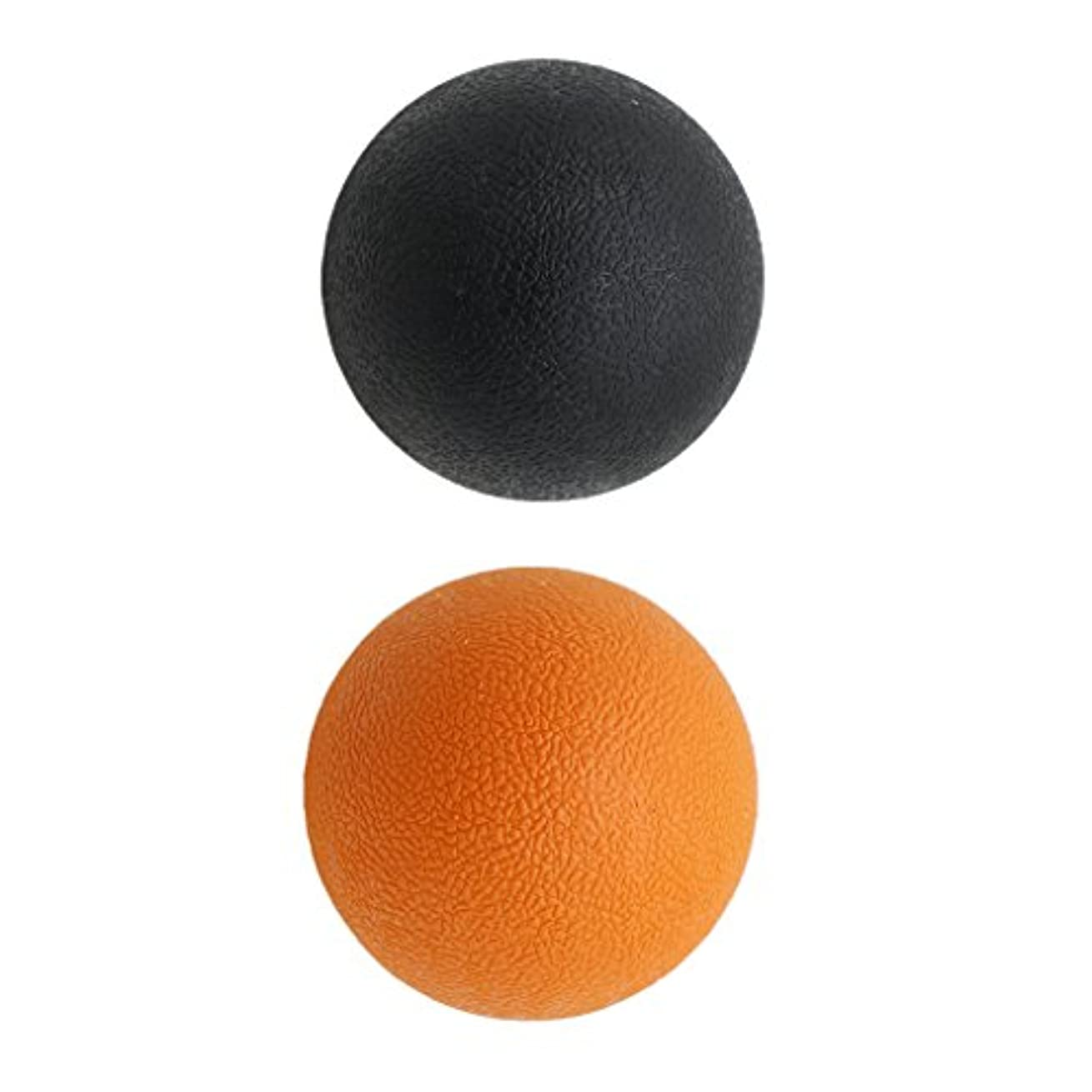 チーム仮称打ち負かすKesoto 2個 マッサージボール ラクロスボール 背部 トリガ ポイント マッサージ 多色選べる - オレンジブラック