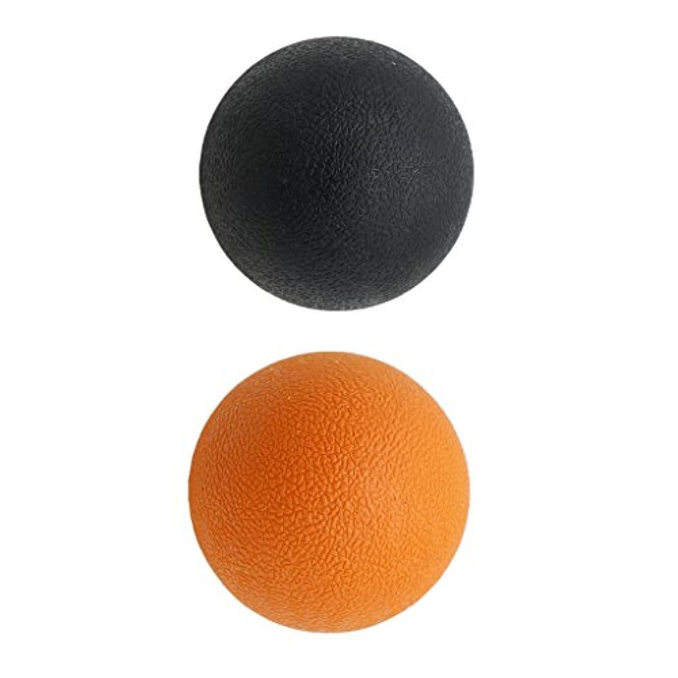 文献ヘルパーおじさんKesoto 2個 マッサージボール ラクロスボール 背部 トリガ ポイント マッサージ 多色選べる - オレンジブラック