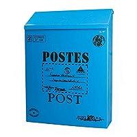 メールボックスブリキトランク屋外防水メールボックス牧歌的な意見ボックスクリエイティブメールボックスロック壁メールボックス小さな絵画意見ボックス (色 : 青, サイズ さいず : B)