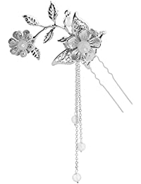 Perfeclan 伝統的 中華風 簪 ヘアピン U字型 タッセル 古代中国 舞台演劇 衣装アクセサリー コスプレ 多色選べ - 白