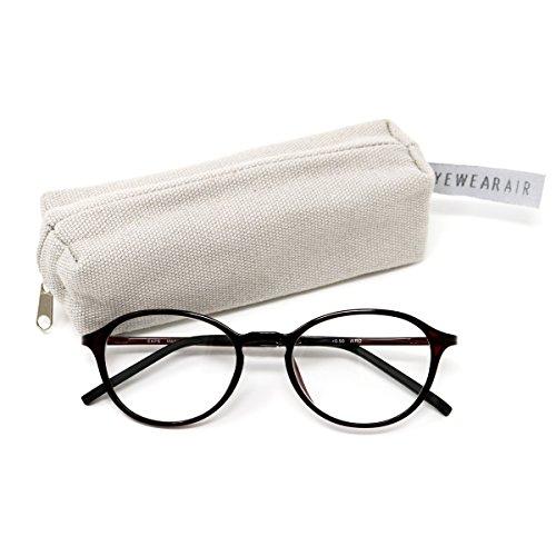 アイウェアエア 35歳からのスマホ老眼鏡 軽量しなやかフレーム ボストン ワイン +0.50