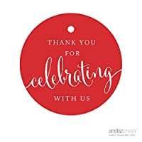 andaz press circle gift tags thank you for celebrating with us red