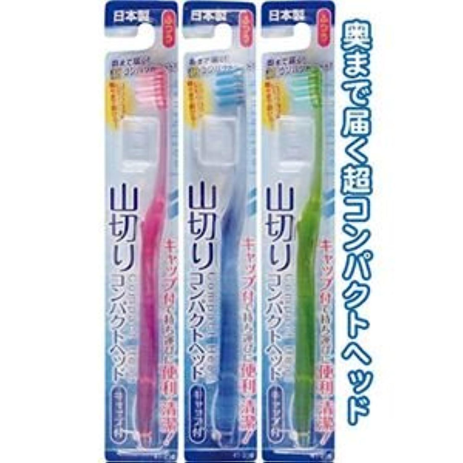 毎回援助インシデントコンパクトヘッドキャップ付歯ブラシ山切ふつう日本製 【12個セット】 41-216