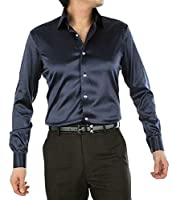Keaac メンズロングスリーブサテンドレスシャツダンスプロムパーティーボタンダウンシャツ 11 S
