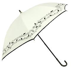 [遮光] ネコ音符 裾ボーダー パイピング 47cm晴雨兼用パラソル スライドショート [婦人/日傘] (オフホワイト)