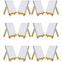 """MEEDEN Mini Canvas & Easel Set of 12 PCS, 4"""" by 4"""" Small Stretched Canvas with 3"""" by 5"""" Tiny Wood Easel for Painting Craft Drawing Decoration Gift"""