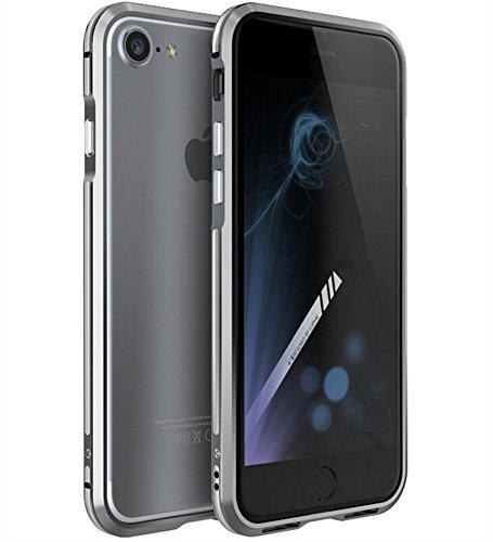 【M&Y】iPhone8 バンパー iPhone8 ケース ストラップホール アイフォン8 バンパー iPhone8アルミバンパー iPhone8 カバー「全6色」MY-I8-LJ-70915 (シルバー+グレー)