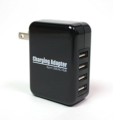 極小 4ポート 急速充電チャージャー USB-AC充電器アダプタ 2.1A対応 出力合計最大4A 100V~240V対応 iPhone iPad Android 携帯電話 スマホ タブレット WiFiルーターなど対応 ブラック