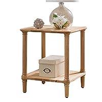 HANSHAN サイドテーブル ソファエンドテーブル、収納棚付き2段ナイトテーブルサイドテーブルコーヒーテーブルコーナーテーブルリビングルームまたはベッドルーム5色19×19×22インチ タブレットホルダー (Color : Wood)