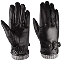 WUXiaodanDan Men's leather gloves touch screen plus velvet thick gloves winter warm gloves windproof motorcycle gloves