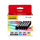 Canon PGI-280 / CLI-281 5 Color Ink Pack, Compatible to TS8120,TS6120,TR8520,TR7520, and TS9120 Wireless Printers