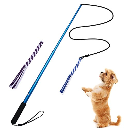 ANG 犬ロープ じゃれ犬 噛む 犬おもちゃ 犬訓練用 両用 釣竿型 四節伸縮できる杖付き 2つ交換...