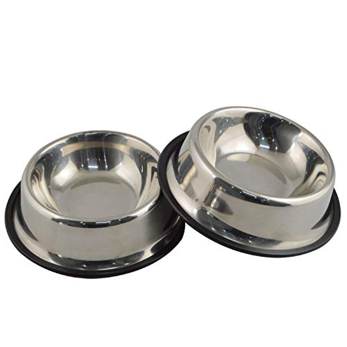 激しい統合フォーム小型/中型/大型犬用ラバーベース付きステンレススチールドッグボウル、ペットフィーダボウル、ウォーターボウルパーフェクトチョイス(2本セット) (S (15cm))
