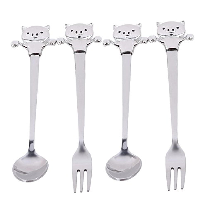 HS 4個/セットクリエイティブ動物HangingスプーンフォークセットコーヒーStirring Spoon Flatwareテーブルウェア