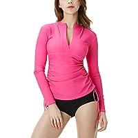 Tesla Women's UPF 50+ Full & Half Zip Front Long Sleeve Top Rashguard Swimsuit