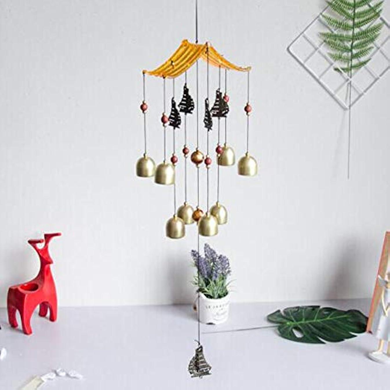 離れた未満満足させるHongyuantongxun 風チャイム、金属銅鐘ホームデコレーション、ブラック、サイズ62 * 13CM,、装飾品ペンダント (Color : Gold-A)