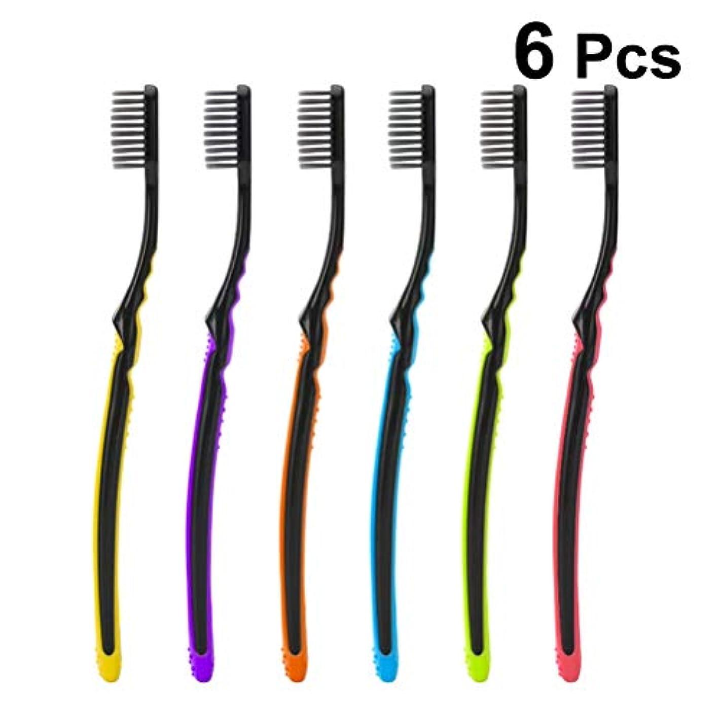 通り著者手荷物SUPVOX 深く口腔クリーニングセットのための6本の柔らかい手動歯ブラシ歯ブラシ