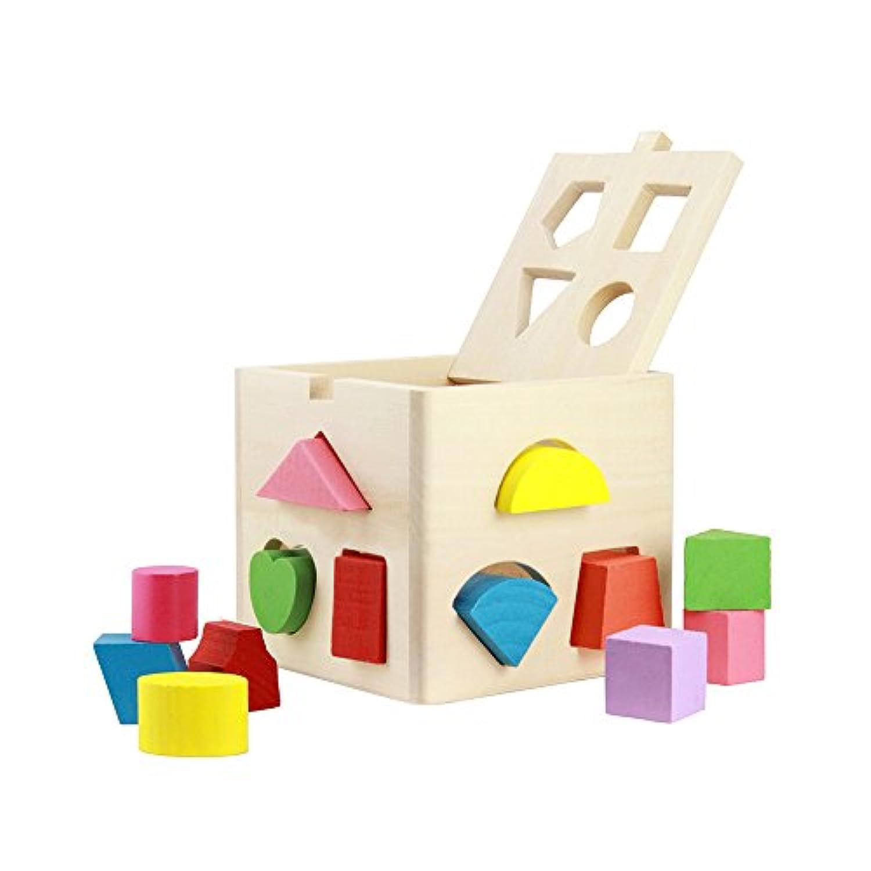 面白い木製図形並べ替えキューブボックスカラフルブロックインテリジェンス学習建物