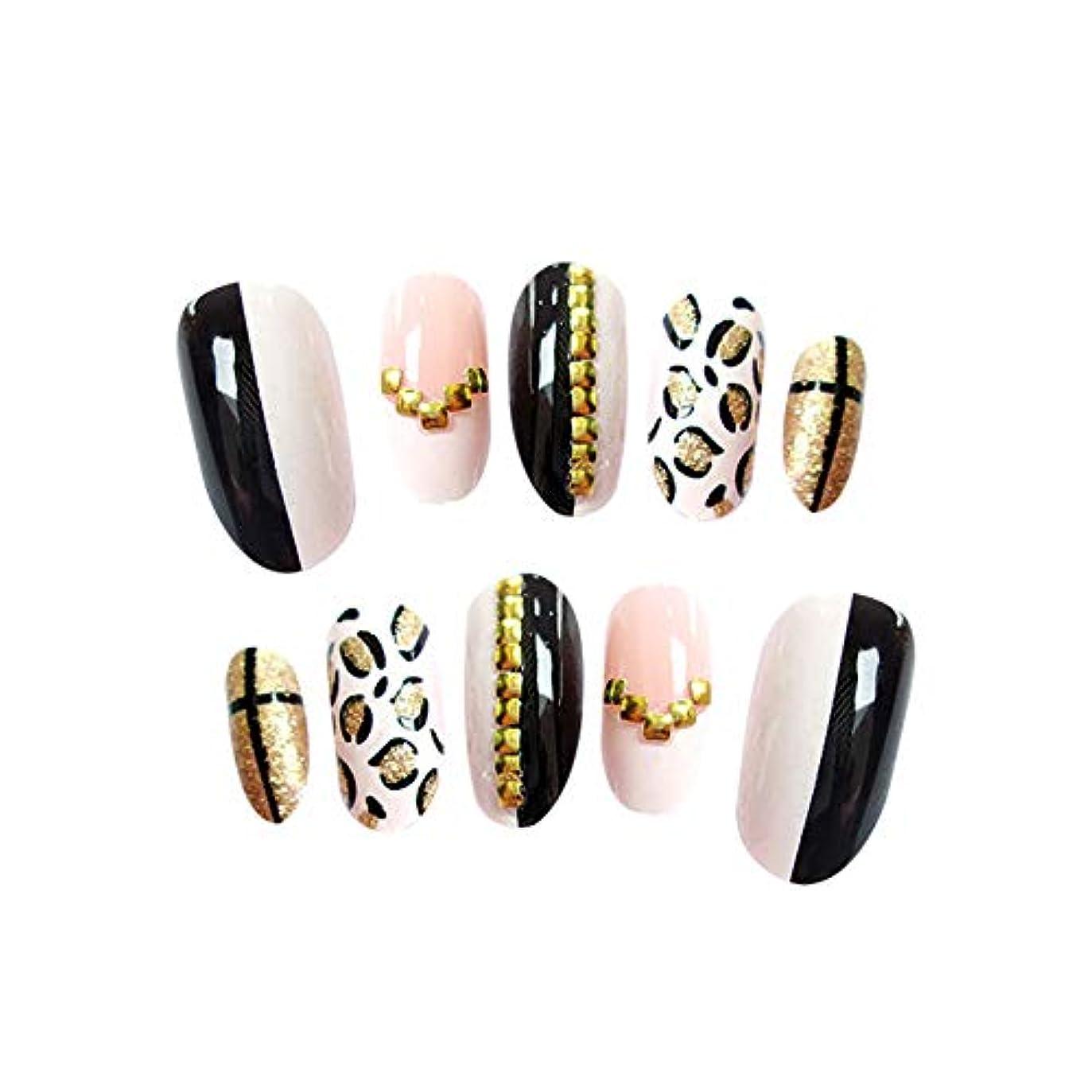 シンプルな大量勝利したPoonikuuネイルアートシール 手作りネイルチップ レンダリング偽のネイル 手爪 ネイルステッカー ネイル好きの女性 ファション 便利シンプル ヒョウ柄ネイルパッチ 1セット24枚 接着剤付き