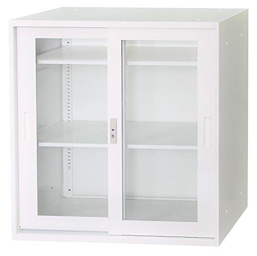 【アウトレット】【新品】 ホワイト色 書庫上下セット 33式 上段ガラス引戸/下段スチール引き違い戸/ベース 3点セット 上下横連結可能 W880×D400×H1810(mm) GD-671