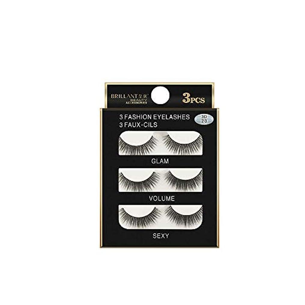 緩やかな機械的に最適3組の3D長くつけまつげの構造の自然で偽の厚い黒い瞳のまつげ