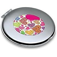 HuaQingPiJu-JP ミニラウンドハートパターンメタルスモールガラスミラーサークルクラフト装飾化粧品アクセサリー