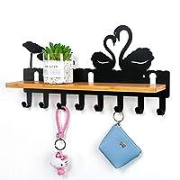 ウォールハンガー 収納棚付きクリエイティブコートラック、黒の壁掛けコートフックハンガー、玄関バスルーム服フック (Color : Black, Size : 8 hooks)