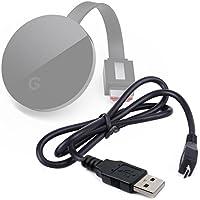 【DURAGADGET】 Google Chromecast USB データ 同期 ケーブル ブラック
