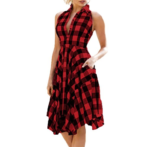 SakuraBest Women Vintage Bodycon Plaid Sleeveless Knee-Length Evening Party Dress, Turn-down Collar (L)