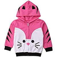 Fashion Boys Girls Hoodies Clothes Cartoon Zipper Kids Sweatshirt Hooded Baby Coat Jacket Tops Outfit Clothes (3-4 Year, Rose)