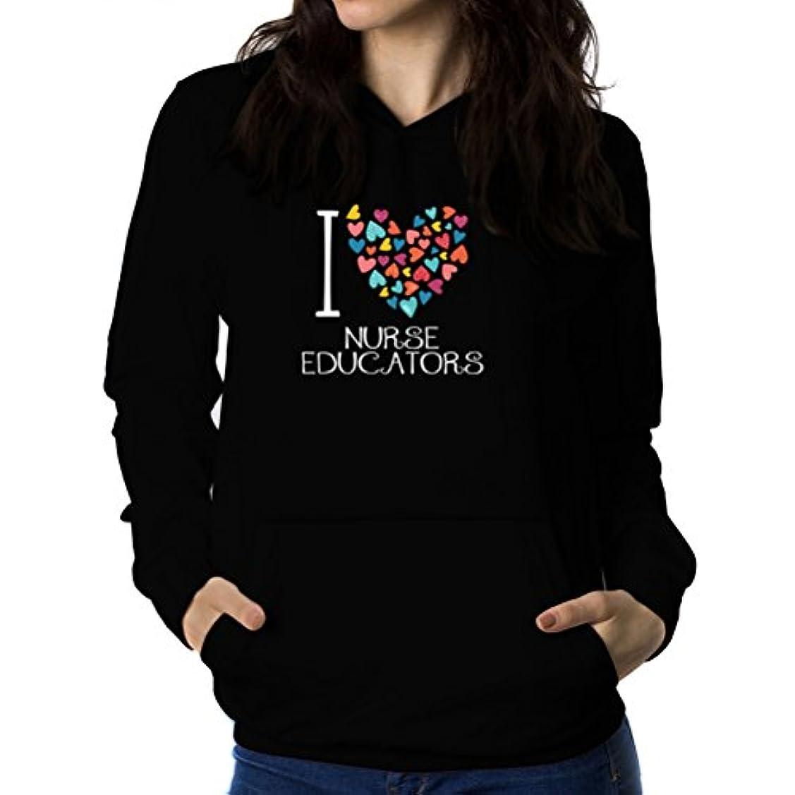 ピッチャーベジタリアン残るI love Nurse Educator colorful hearts 女性 フーディー
