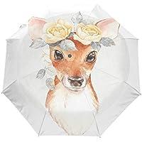 雨傘 折りたたみ傘 三つ折り傘 自動傘 自動開閉 ワンタッチ 鹿と花柄 8本骨 撥水性 晴雨兼用 ファッション 耐風