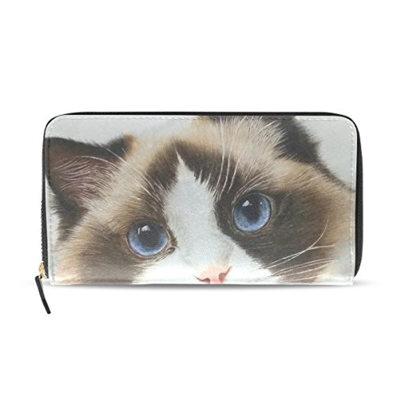 長財布 レディース 大容量 かわいい ラグドール 猫 ラウンドファスナー 革 レザー おしゃれ カード12枚収納 プレゼント対応