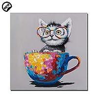 """モダンなアートワークの漫画の絵画、コーヒーカップのキャンバス子猫のアクリル壁画、ホームオフィス用フレーム装飾,32""""*32""""(80*80cm)"""