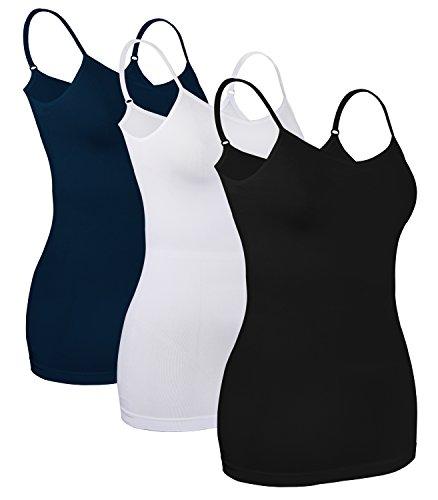 iLoveSIA (アイラブシア) レディーズ キャミソール インナーウェア 女性下着 ストレッチ ナイロン 3枚セット 黒+白+紺 M