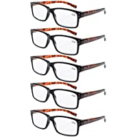 Eyekepper 5-pack Spring Hinges Vintage Reading Glasses Men Readers Black Frame Tortoise Arms +1.5