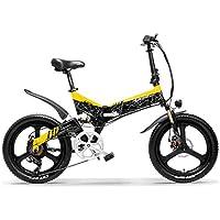 G650 20インチ折りたたみ自転車 48V 14.5Ahリチウムイオンバッテリー5レベルペダルアシストフルサスペンションマウンテンバイク (黑黄, 14.5Ah)