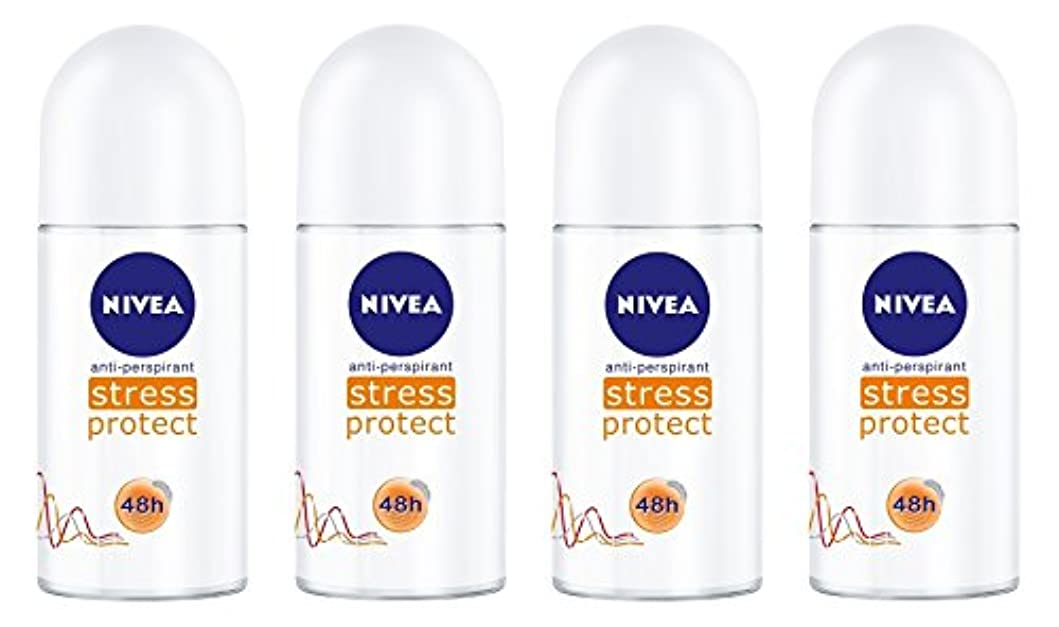最小化する楽な寄付する(Pack of 4) Nivea Stress Protect Anti-perspirant Deodorant Roll On for Women 4x50ml - (4パック) ニベア応力プロテクト制汗剤デオドラントロールオン...